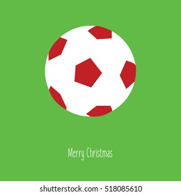 merry christmas soccer on a grass illustration isolated in a green background