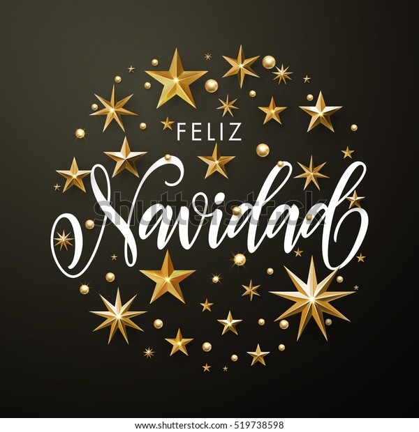 Merry Christmas In Spanish.Merry Christmas Spanish Greeting Card Gold Stock Vector