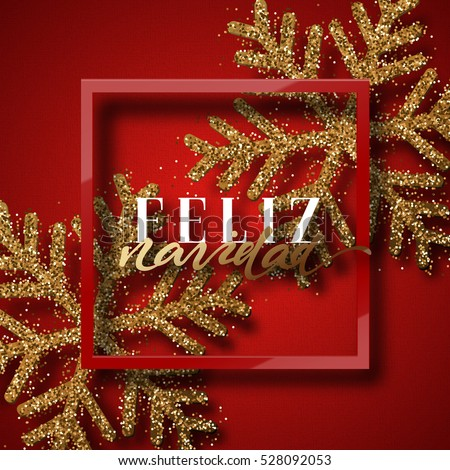 merry christmas spanish inscription feliz navidad christmas background red beautiful bright snowflakes