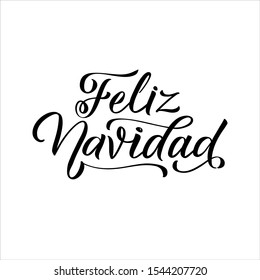 Merry Christmas Spanish Lettering. Feliz Navidad text on vintage greeting card design template with typography on white grunge paper texture. Retro letterpress poster Merry Christmas. Festive vector