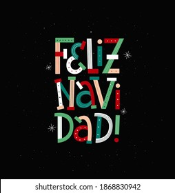 Merry Christmas in Spanish modern typography card