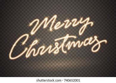 Merry christmas sparkler sign. Firework sign isolated on transparent background. Sparkling symbol for your christmas design. Applicable for banner, flyer, poster. Vector illustration