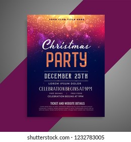 merry christmas sparkles party poster flyer design template