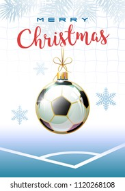 Merry Christmas. Sports greeting card. Realistic soccer ball in the shape of a christmas ball. Vector illustration.