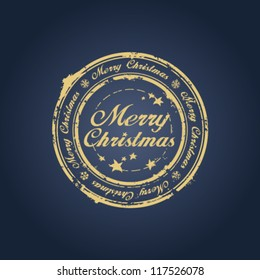 Merry Christmas stamp on blue