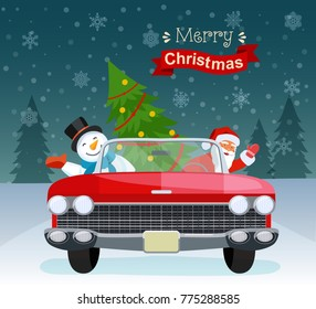 Merry christmas stylized typography. Vintage red cabriolet with santa claus, christmas tree and snowman. Vector flat style illustration