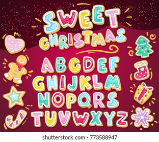 Merry christmas sweet font. Vector holiday illustration set cookie letters and figured gingerbread cookies. Heart, snowflake, fir-tree, sock, star, gift, lollipop, gingerbread man. Cartoon alphabet