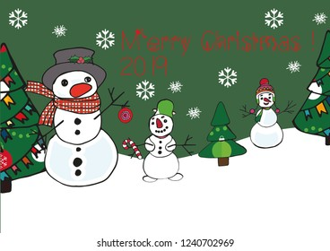 Merry Christmas sweet snowmen and Christmas tree, vector illustration.