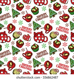 Merry Christmas. Christmas sweetness and pastries. Christmas tea party. Vector seamless illustration (background).