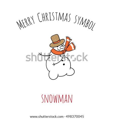Merry Christmas Symbol Snowman Beautiful Vector Stock Vector