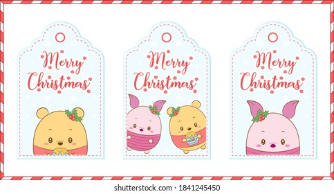 Merry Christmas tags cute Winnie the pooh bear and Piglit drawing for winter season holidays