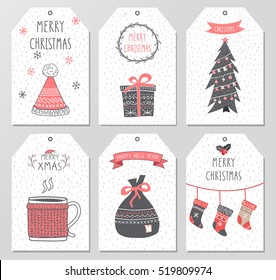 Merry Christmas tags flyer set. Vector iilustration.