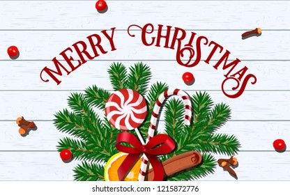 Merry Christmas taste template card. decoration with fir branches with red bow, candy cane, lollypop, orange slice, cinnamon, cloves. white wooden planks background. Place for text vector illustration