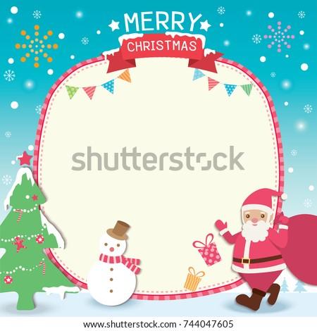 Merry Christmas Template Card Design Santa Stock Vector (Royalty ...