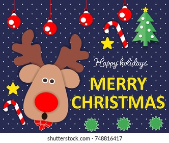 Merry Christmas template vector for background, card, or greeting.