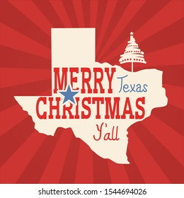 Merry Christmas Texas greeting card. Vector American vintage poster with map of Texas silhouette and holiday text