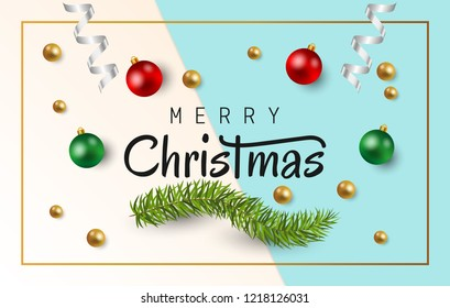 Merry Christmas text with christmas balls, fir branches and shiny white ribbon on blue and white paper background. Vector illustration
