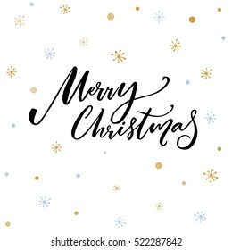 Merry Christmas text. Black typography on white vector background with snowflakes.