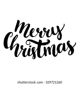 Merry christmas text. Brush calligraphy type, vector lettering isolated on white background. Bold script handwriting.
