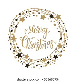 Merry Christmas text for card for your design. Calligraphy inscription in a circle with stars. Vector illustration.