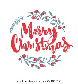 Merry Christmas text decorated with hand drawn branches with red berries. Greeting card design element. Red brush lettering. Vector typography.