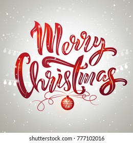 Merry Christmas text design with Christmas tree ball and garland. Vector illustration. Merry Christmas lettering on snowy background. Template for a poster, cards, banner.