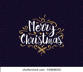 Merry Christmas text design. Vector logo, typography. Usable as banner, greeting card, gift package etc.