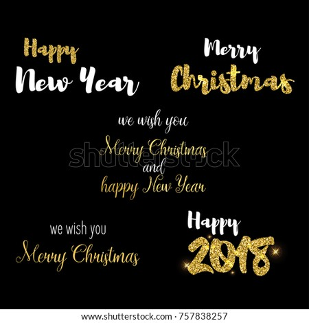 merry christmas text design vector typographic template stock vector