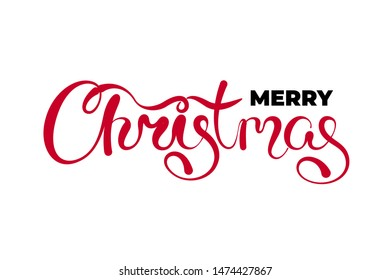 Merry Christmas text hand drawn calligraphic lettering design template. Happy New Year holiday creative typography greeting gift poster. Calligraphy font style white banner. Vector illustration