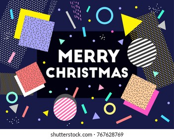 Merry Christmas. Text. Happy Holidays. Vector artwork. Blue, black, white, pink, yellow, beige, blue, purple colors. Gift greeting card. Memphis pattern. Retro, vintage 80s, 90s style