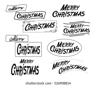 Merry Christmas text image and diversified design .Vector illustration.Black on white.