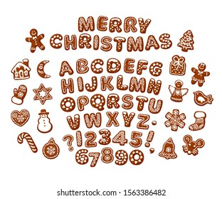 Merry Christmas text made of chocolate biscuits. Gingerbread alphabet and cute traditional holiday cookies. Sugar coated letters and numbers. Cartoon hand drawn vector isolated on white background.