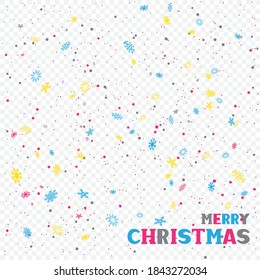 Merry Christmas text and multicolor falling snow on white transparent background. Winter holiday color lettering