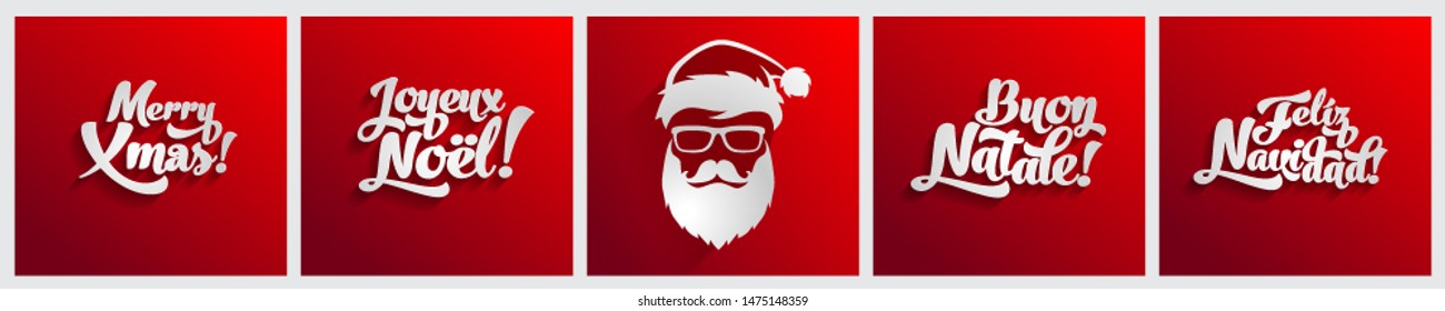 Merry Christmas text on english, french, spanish and italian languages flat design red greeting card logo template bundle set.  Joyeux noel. Feliz navidad. Buon natale.