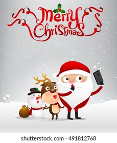 Merry christmas text and santa claus cartoon selfie with smartphone on snow bakcground vector illustration eps10