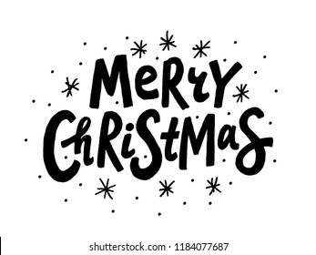 Merry Christmas text. Vector illustration. Unique xmas design element black isolated on white background. Design for print on christmas cards, banner, poster, flyer or christmas post in social media