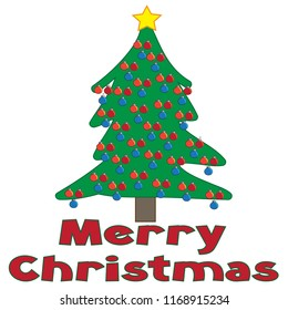 Merry Christmas text words with decorated Christmas tree ornaments green red vector illustration
