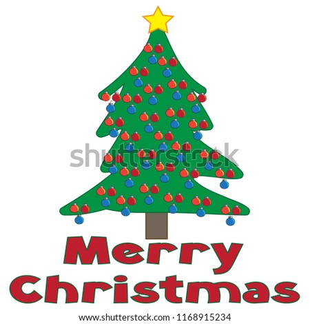 merry christmas text words decorated christmas stock vector royalty