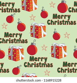 Merry Christmas text words wrapped gift ornaments stars red green seamless pattern