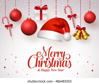 Merry christmas title in red with hanging christmas ornaments like santa hat, balls, gifts, bells and candies in a white snow background