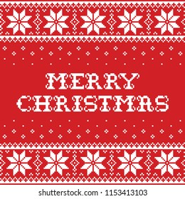 Merry Christmas traditional seamless vector pattern or greeting card - Scandinavian knnitting, cross-stitch style. Nordic retro Xmas repetitive background in red and white with snowflakes and text