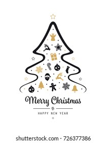 merry christmas tree elements card golden black isolated background