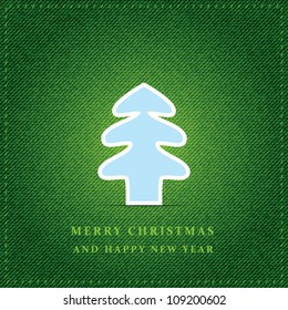 Merry Christmas tree with green jeans texture. Vector illustration