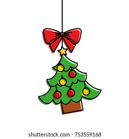 merry christmas tree hanging bow ball and star vector illustration