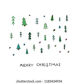 Merry Christmas tree Happy New Year simple card. Winter Holidays vector. Forest snow postcard graphic design element. Cute Hand written primitive small sign. Kids drawing Children hand made naive art
