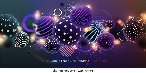 Merry Christmas trendy cover background design with liquid dynamic fluid spheres and Christmas toys for greeting card, banner, placard or poster. Eps10 vector illustration