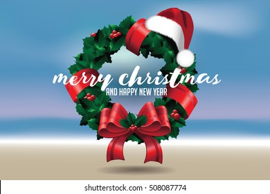 Merry Christmas from a tropical climate or from the beach. With Christmas wreath and Santa Claus hat. EPS 10 vector.