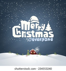 Merry Christmas Typographic Design With Winter Landscape