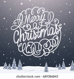 Merry Christmas typographic design | Winter landscape