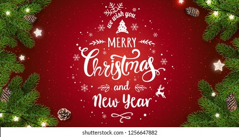 Merry Christmas Typographical on red background with tree branches, berries, gift boxes, stars, pine cones. Xmas and New Year theme. Vector Illustration